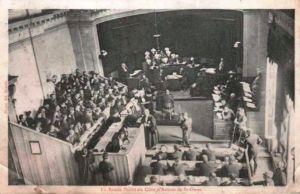 Foto vom Prozess gegen die Pollet-Bande in St. Omer, 1908. Digitale Sammlung Blazek
