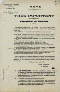 Dokument zum Überfall von Violaines, 30. Januar 1906. Archives départementales du Pas-de-Calais, 2 U 168, dossier 181.