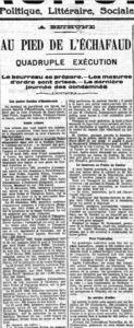 """""""Am Fuß des Schafotts – Vierfach-Exekution"""": Über den letzten Tag der Verurteilten. L'Aurore, Paris, 11. Januar 1909. Digitale Sammlung Blazek"""