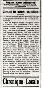 Littoral, 27. Juni 1908, Seite 2: Überblick über alle Verurteilungen im Zuge des Geschworenengerichts-Prozesses von Saint-Omer. Digitale Sammlung Blazek