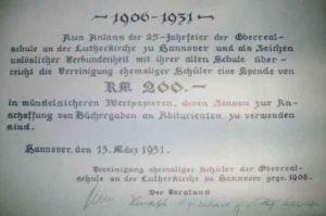 Quittung von 1931