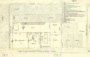Skizze des Hauses der Eheleute Lenglometz, wo in der Nacht vom 16. zum 17. August 1905 das Verbrechen begangen wurde. Archives départementales du Pas-de-Calais, 2 U 168, dossier 181.